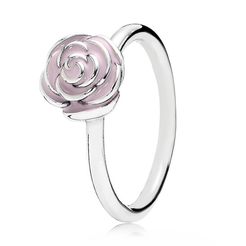 PANDORA Rose Garden with Pink Enamel Ring