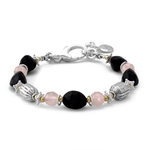Faceted Trillion Cut Onyx and Rose Quartz Bracelet