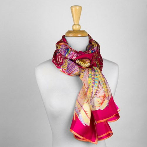 Pink Feather Silk Scarf
