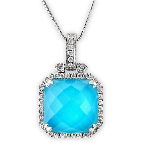 Square Turquoise & Diamond Necklace