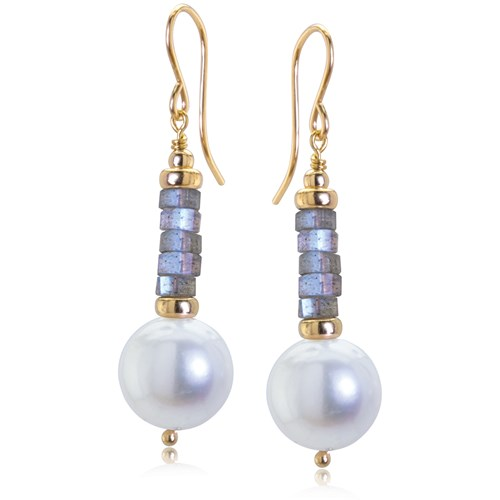 Impressionist Collection Labradorite & Pearl Drop Earrings