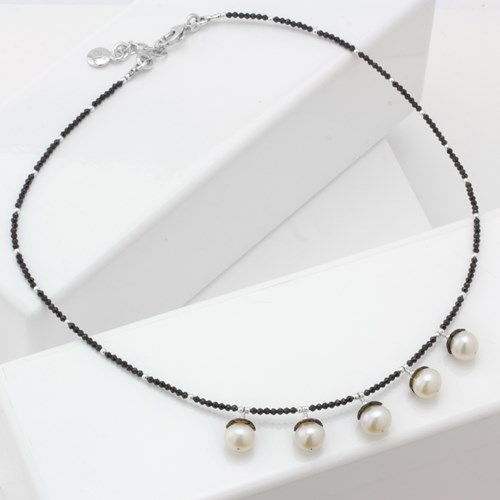 Impressionist Collection Black Mother of Pearl & Pearl Necklace 10707N