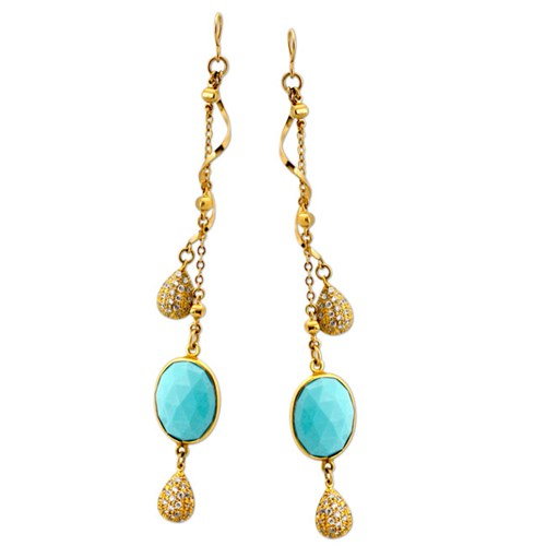 Elisa Ilana Sleeping Beauty Turquoise Earrings