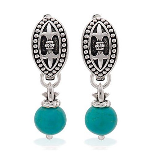 Elisa Ilana Turquoise Fleur de Lis Earrings