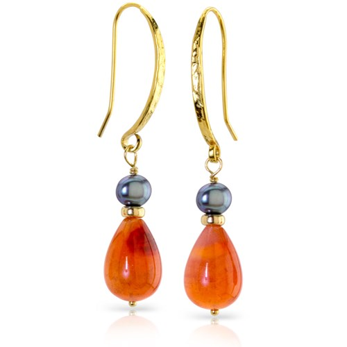 Impressionist Collection Carnelian & Grey Pearl Dangle Earrings 10836E