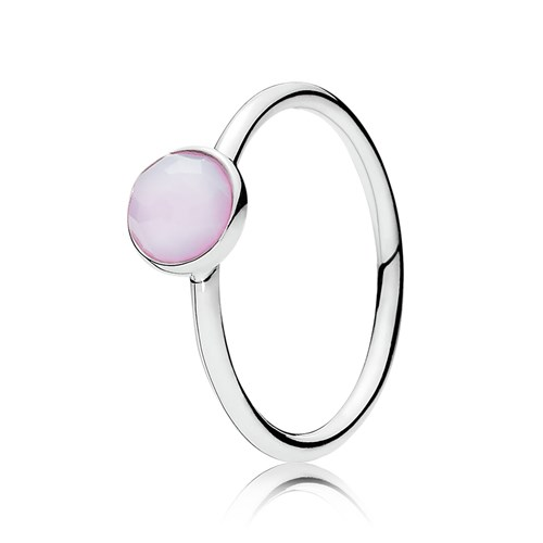 PANDORA October Droplet with Opalescent Pink Crystal Ring