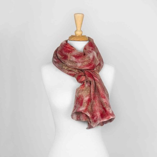 Red Nuno Felted Scarf 10318E