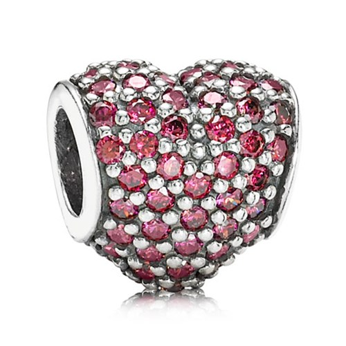PANDORA Pavé Heart with Red CZ Charm