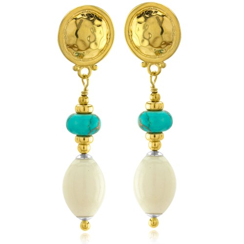 The Goddess Collection Turquoise & Bone Earring