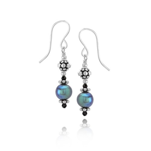 Black Spinel & Peacock Pearl Earrings