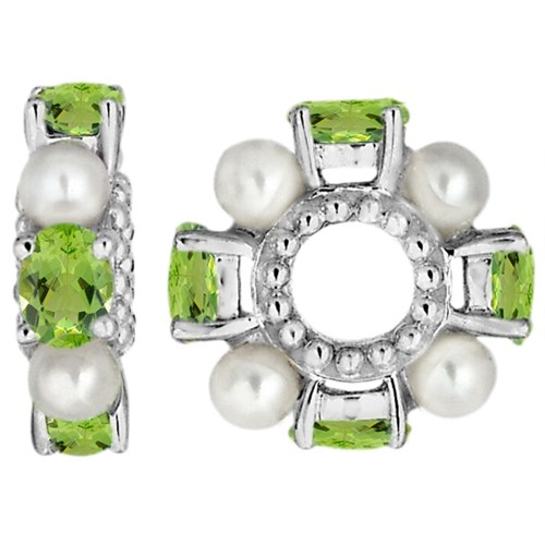 Storywheels Peridot & Pearl 14K White Gold Wheel Charm
