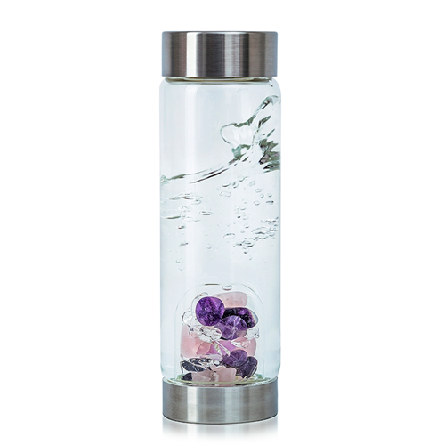 Wellness Amethyst & Rose Quartz Gemwater Bottle