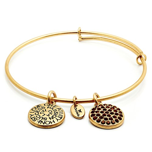 Chrysalis JANUARY Garnet Crystal Gold Bangle