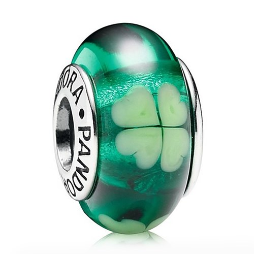 PANDORA Kiss Me I'm Irish Murano Glass
