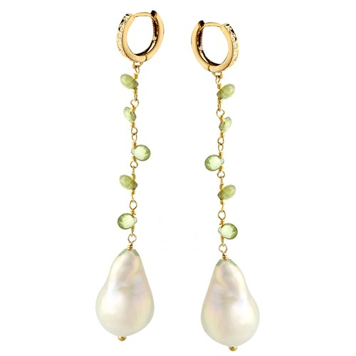 Elisa Ilana White Pearl and Peridot Earrings