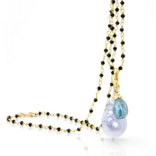Baroque Pearl & Blue Kyanite Necklace