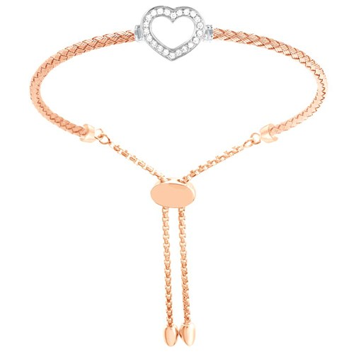 Sophie Open Heart CZ Mesh Friendship Bracelet Rose Gold