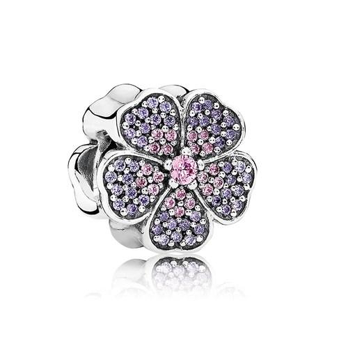 pandora sparkling primrose with pink and purple cz charm