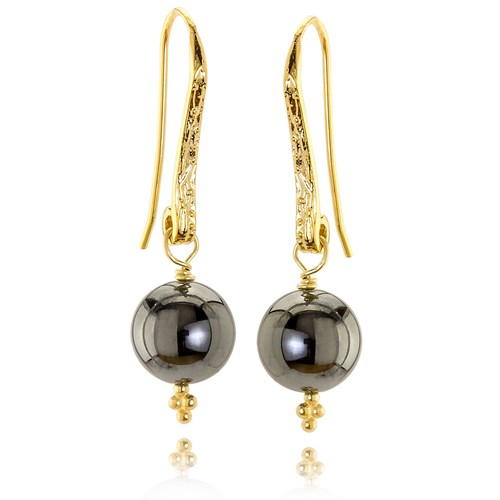 The Goddess Collection Hematite & Gold Earrings 10807E