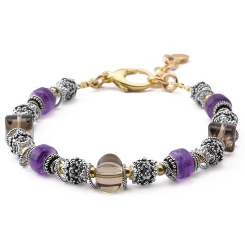 Amethyst and Smokey Quartz Bracelet