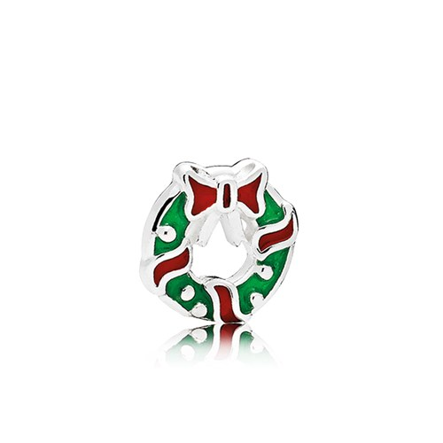 PANDORA Holiday Wreath Berry Red & Green Enamel Petite Locket Charm 796397ENMX