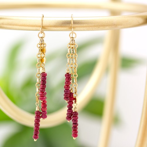 Ruby & gold Dangle Earrings 10946E-R