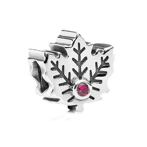 PANDORA Maple Leaf with Synthetic Ruby Charm