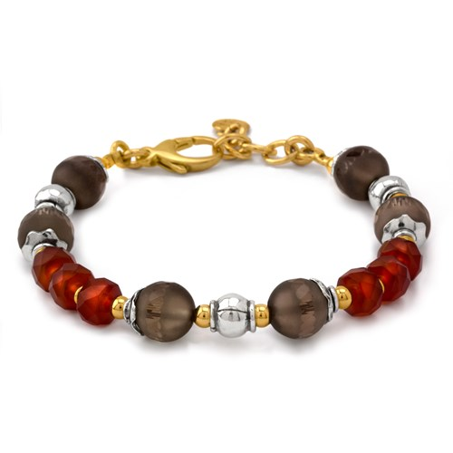 Elisa Ilana Smoky Quartz and Carnelian Bracelet