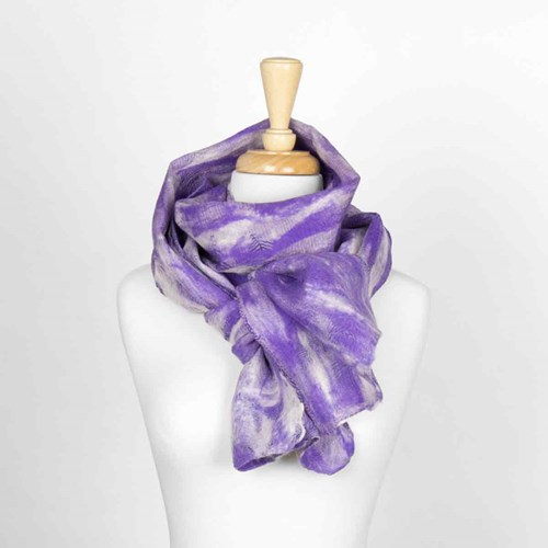 Light Purple Pattern Nuno Felted Scarf 10317B