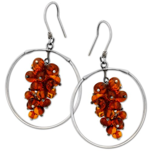 Elisa Ilana Amber Cluster Hoop Earrings