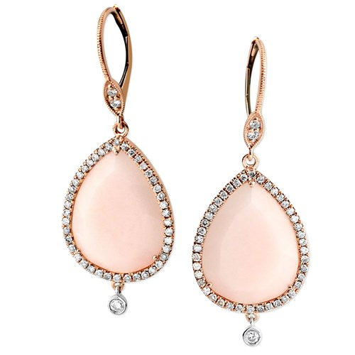 Diamond Pink Opal Earrings 342260