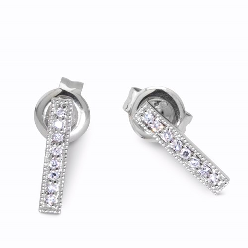 14K White Gold Diamond Bar Earrings 21381DW