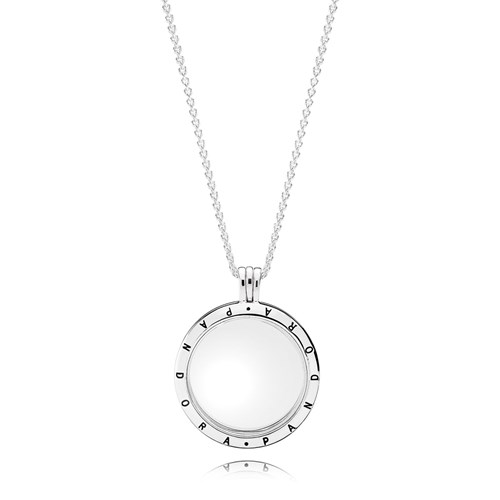 PANDORA Large Floating Locket with Sapphire Crystal Glass Necklace