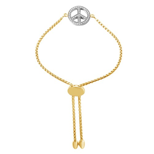 Lauren CZ Peace Friendship Bracelet Gold