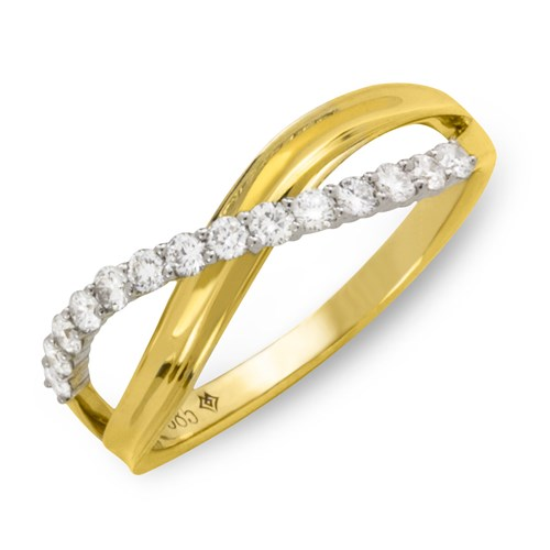 Wide Crossover Diamond 14K Ring