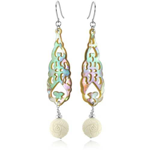 The Goddess Collection Carved Rose and Mother of Pearl Earrings Made in the USA