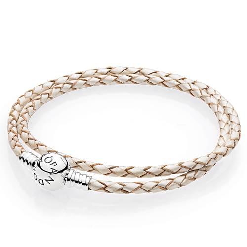 PANDORA Champagne-Colored Braided Double-Leather Charm Bracelet