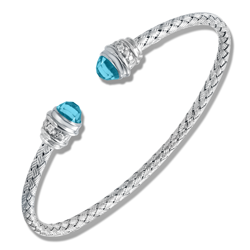 Sunset Blue Topaz w/Diamond Cuff Bracelet