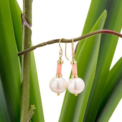 Impressionist Collection Coral & Pearl Drop Earrings 10924E