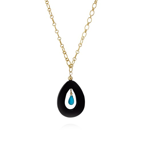 Elisa Ilana Black Carnelian and Sleeping Beauty Turquoise Necklace