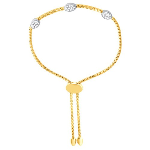 Cora Three Oval CZ Friendship Bracelet Gold
