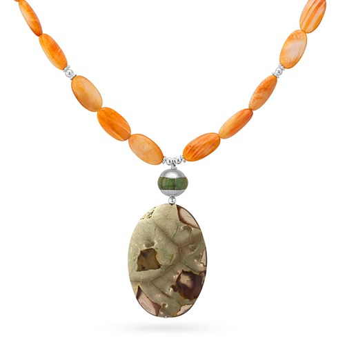 Impressionist Collection Spiny Oyster & Thunderegg Necklace