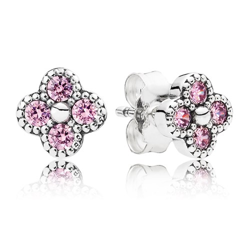 PANDORA Oriental Blossom Pink Stud Earrings