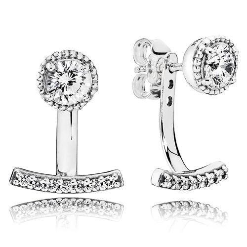 PANDORA Abstract Elegance, Clear CZ Earrings