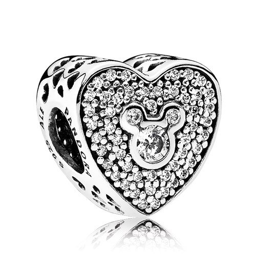 PANDORA Disney, Mickey & Minnie Sparkling Heart Charm