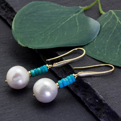 Impressionist Collection Turquoise & Freshwater Pearl Earrings 10899E