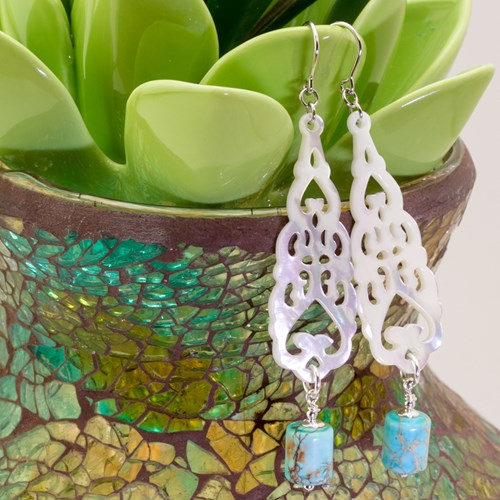 The Goddess Collection Mother of Pearl & Turquoise Earrings 10904E