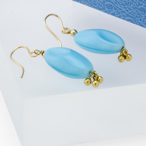 Impressionist Collection Robin's Egg Glass Drop Earrings 10898E