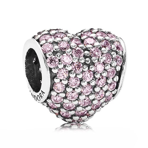 PANDORA Pavé Heart with Pink CZ Charm