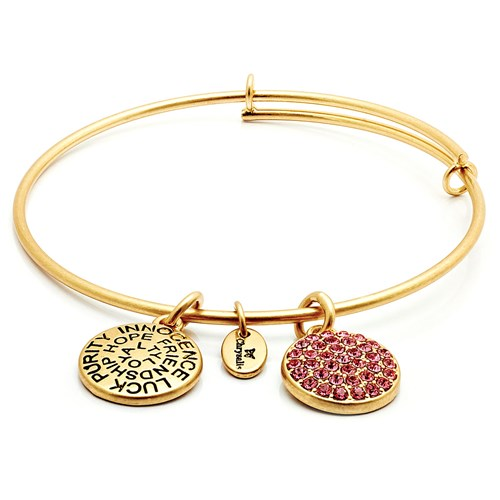 Chrysalis OCTOBER Pink Tourmaline Crystal Gold Bangle